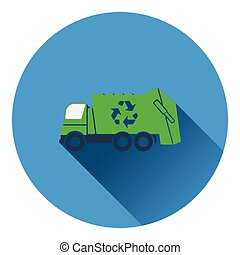 Garbage car with recycle icon Flat design Vector...