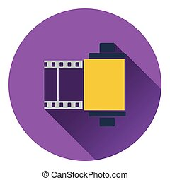 Photo cartridge reel icon Flat design Vector illustration