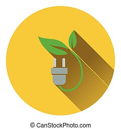 Electric plug with leaves icon Flat design Vector...
