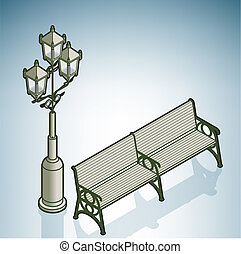 Street Lights & Bench (part of On the Street Items Isometric...