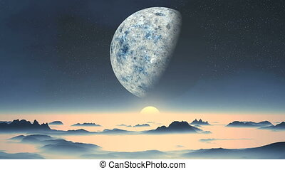 Alien landscape - The starry night sky is a huge planet and...