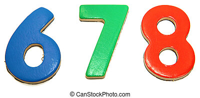 Colorful Magnetic Numbers 6 7 8 - Colorful magnetic alphabet...