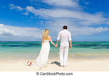 Bride and Groom having fun on the tropical beach with his...