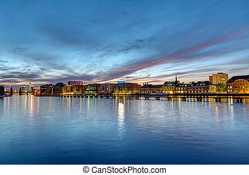 The river Spree in Berlin at dawn with the famous television...