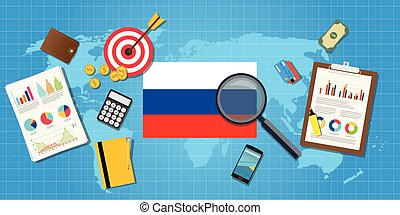 russia economy economic condition country with graph chart and finance tools vector graphic