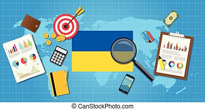 ukraine economy economic condition country with graph chart and finance tools vector graphic