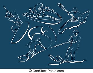 Extreme water sports icons Vector illustration, EPS 10