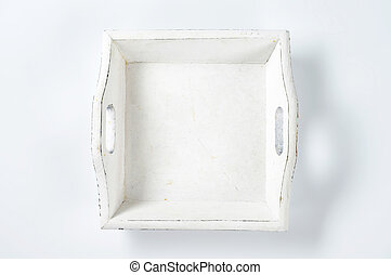 wooden serving tray - square white painted wooden tray