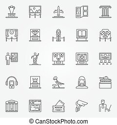 Museum icons set - vector linear fine art objects symbols...