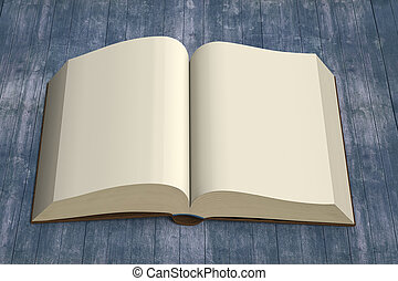 Front view opening book on vintage wooden background, 3D rendering