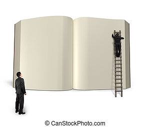 Man on  ladder writing opening book with another watching, 3D rendering