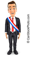 3d businessman wearing french mayoral sash, illustration...