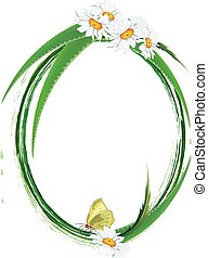 frame with aloe, butterfly and daisy - vector oval floral...
