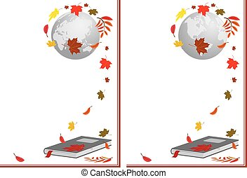 book, globe and autumnal leaves - set of vector illustration...