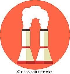 Air pollution. Factory chimney. Global warming. Vector flat...