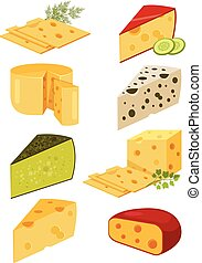 Piece of cheese Slice cheese Yellow cheese Vector flat...