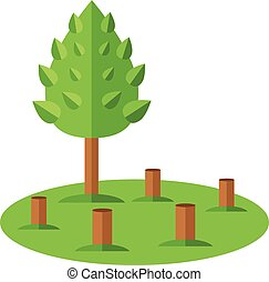 Deforestation icon Ecological natural problem Vector flat...