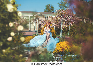 Girl long dress sitting in the park and watching. - Girl in...