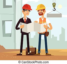 Two builders Builder and engineer Builders read plan...