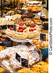 Many Pastries in a Bakery Display