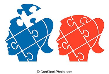 Woman head puzzle - Two Puzzle woman heads silhouettes...
