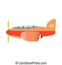 Orange plane icon, cartoon style