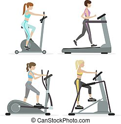 Girls with cardio equipments - Set of girls with cardio...