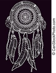 Dreamcatcher, white on dark. A4 size. Pattern for adult...