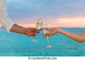 frau, Schallen, Sonnenuntergang, champagner, wein, Mann, Brille