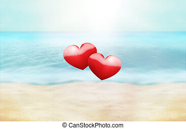 hearts summer time golden paradise photo and 3D render