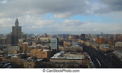 Moscow cloudy sky time lapse. Leningradsky prospekt avenue ....