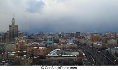 Moscow partly cloudy winter time lapse Leningradsky prospekt...