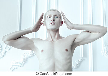 Man with white skin and blue eyes. - Male albino with white...