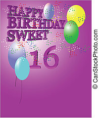 sweet 16 greeting background for girls on pink