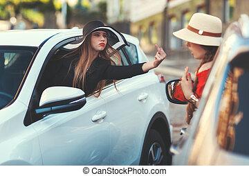 mujer, De, el, coche, exposiciones, indecente, gesture.,