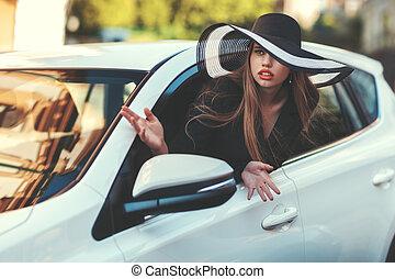 mujer, en, el, coche.,