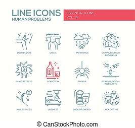 Human psychological problems- line design icons set - Set of...