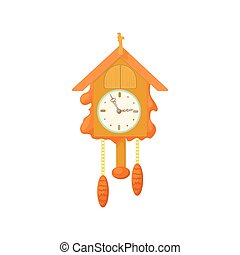 Vintage wooden cuckoo clock icon, cartoon style - Vintage...