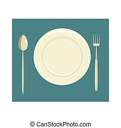 Place setting with empty dish fork and knife icon in cartoon...