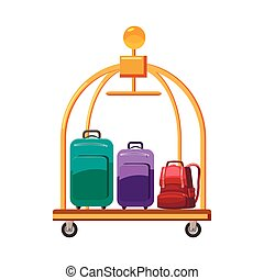 Hotel baggage cart icon, cartoon style