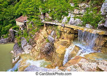 Village of Kotle old watermill on Mirna river, Istria,...