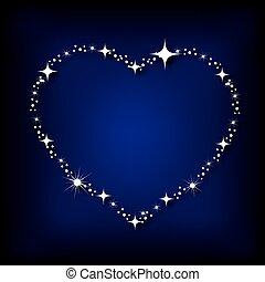 Heart with stars on the night sky