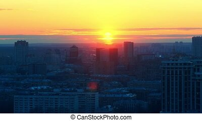 Orange, yellow and blue sunset over Moscow city time lapse video