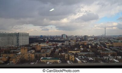Stormy weather winter time lapse with distant Ostankino TV...
