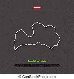 latvia outline - Republic of Latvia isolated map and...