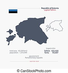 estonia - Republic of Estonia isolated maps and official...