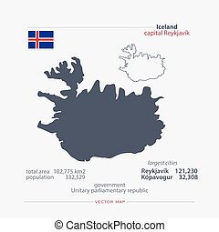 iceland - Republic of Iceland isolated maps and official...