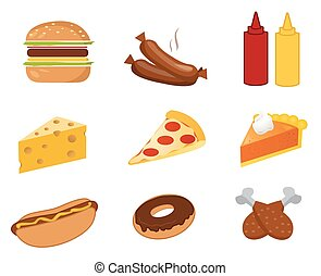 fast food set vector on white background