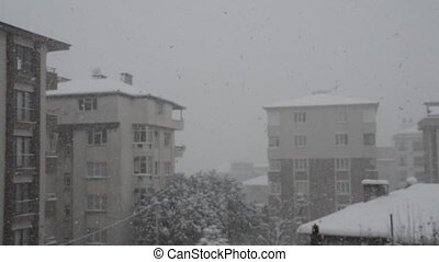 Snowfall in the city - There is heavy snowfall in the city,...