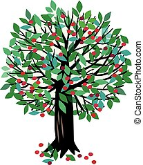 Illustration Cherry tree - Vector illustration of a fruit...